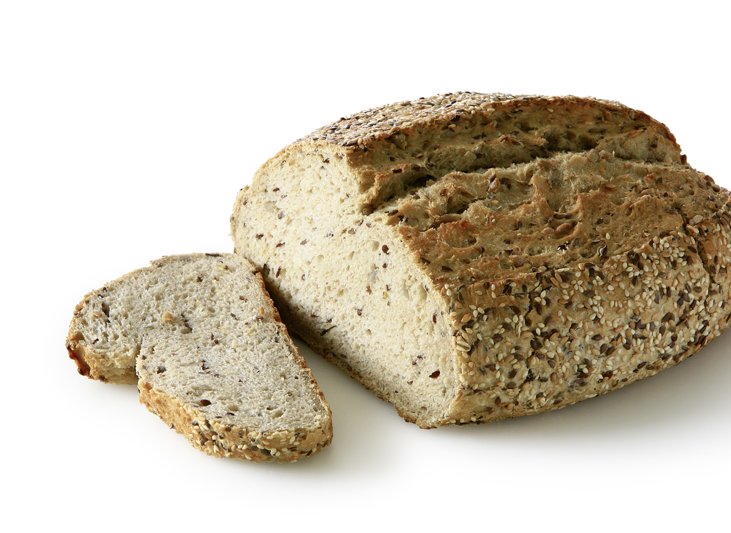 Multi Grain Bread - Unmolded multigrain bread with light and dark linseeds, sesame, sunflower seeds and oat flakes length: 26,5 cm