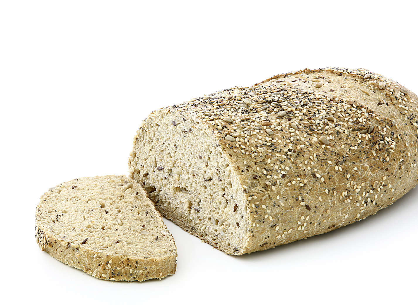 Champions Bread - Oval, unmolded multigrain bread/ equally sprinkled with poppy seeds, sesame seeds, linseeds and sunflower seeds length: 27.5 cm