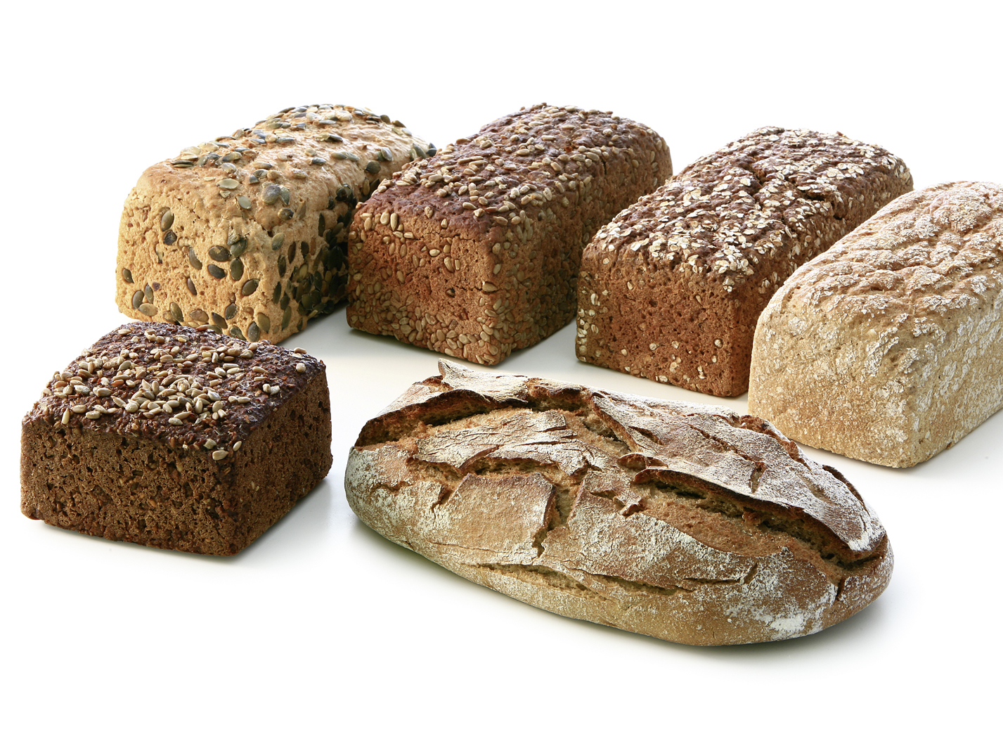 Bread Assortment - Mix of the varieties: 3 wholemeal lumps, 2 crusty breads, 2 potato breads, 2 pumkin seed breads, 2 wholegrain breads, 2 sunflower seed breads