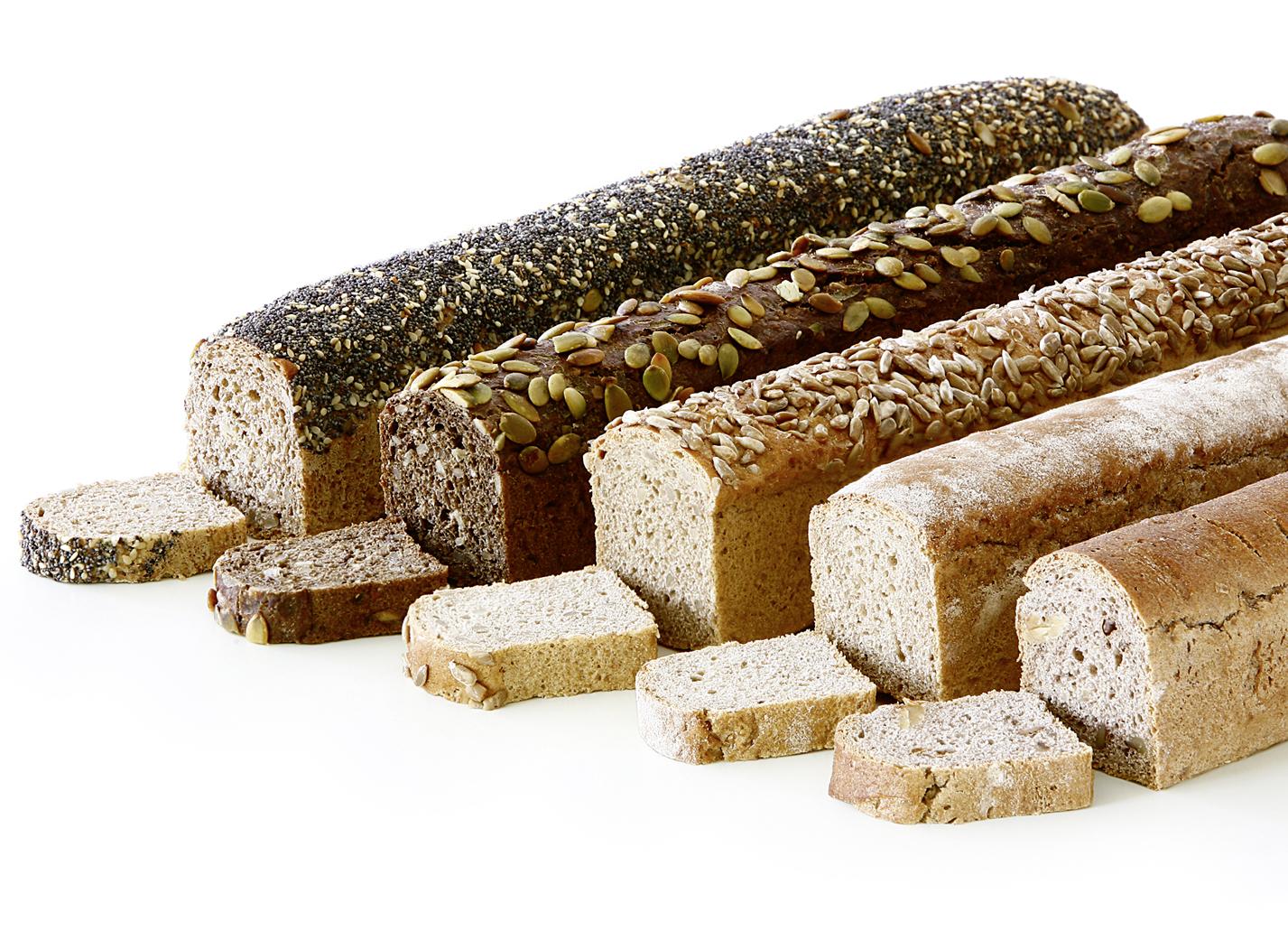 Buffet-Bread - Mix of bread bars with 3 pieces of each: rye, walnut, sunflower seeds, pumpkin seeds, spelt breads length: 39 cm
