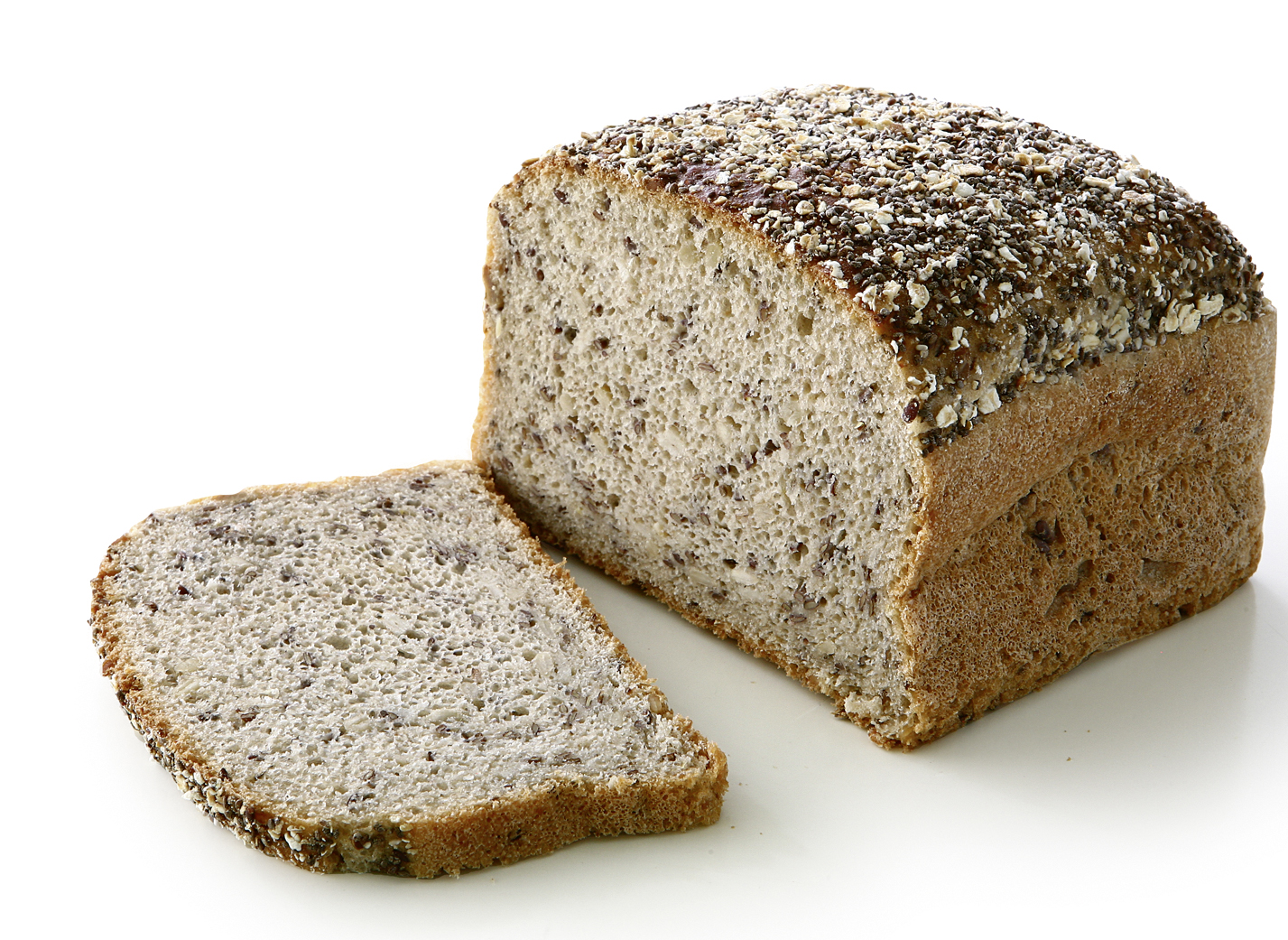 Chia Seed Bread - Quadratic multigrain bread with 8.1 % oilseeds, 4.8 % chia seeds and natrual sourdough/ measure: approx. 12.5 x 12.5 cm
