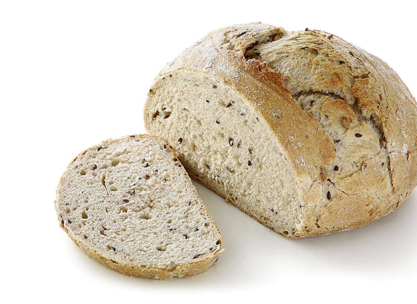 Organic Spelt Bread DE-ÖKO-034 - ORGANIC Spelt Bread with spelt wholegrain sourdough, 2% ORGANIC sunflower kernels, 2% ORGANIC linseeds, 2% ORGANIC potato flakes, sea salt and sesame/ diameter: approx. 18 cm