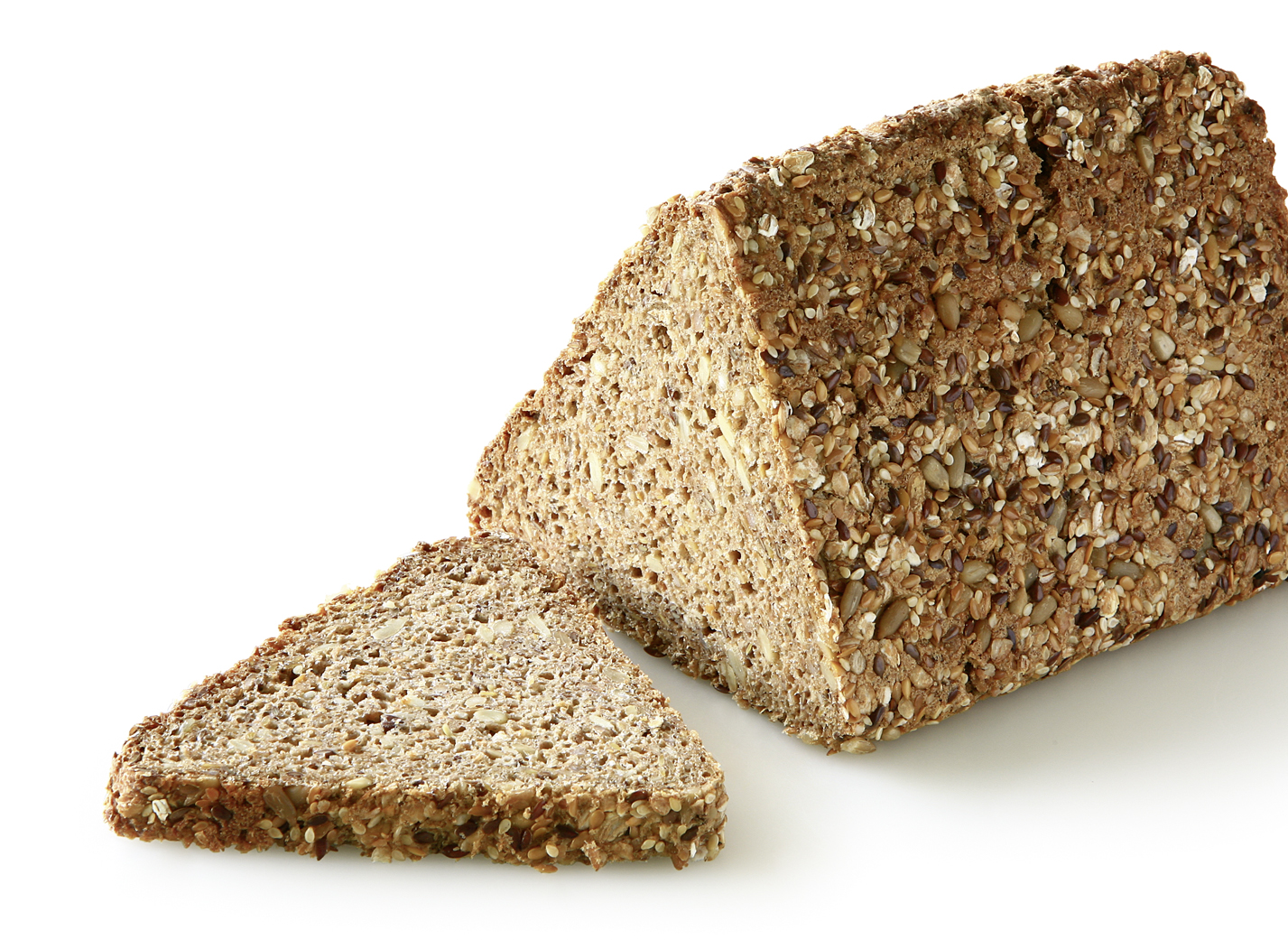 Grain Edge - Wholemeal multigrain bread baked in a triangular form/ with sunflower seeds, linseeds and sesame seeds length: 17 cm