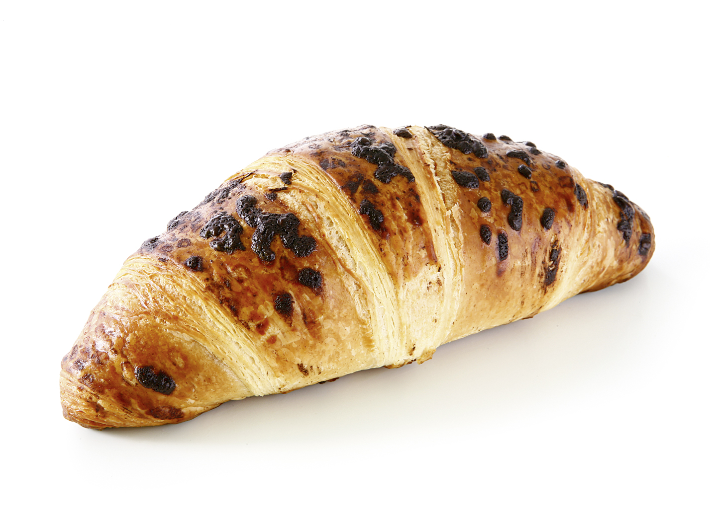 Butter Croissant with Chocolate Filling - Danish pastry with 20% butter/ filled with 17% original Belgian chocolate and decorated with chocolate chips
