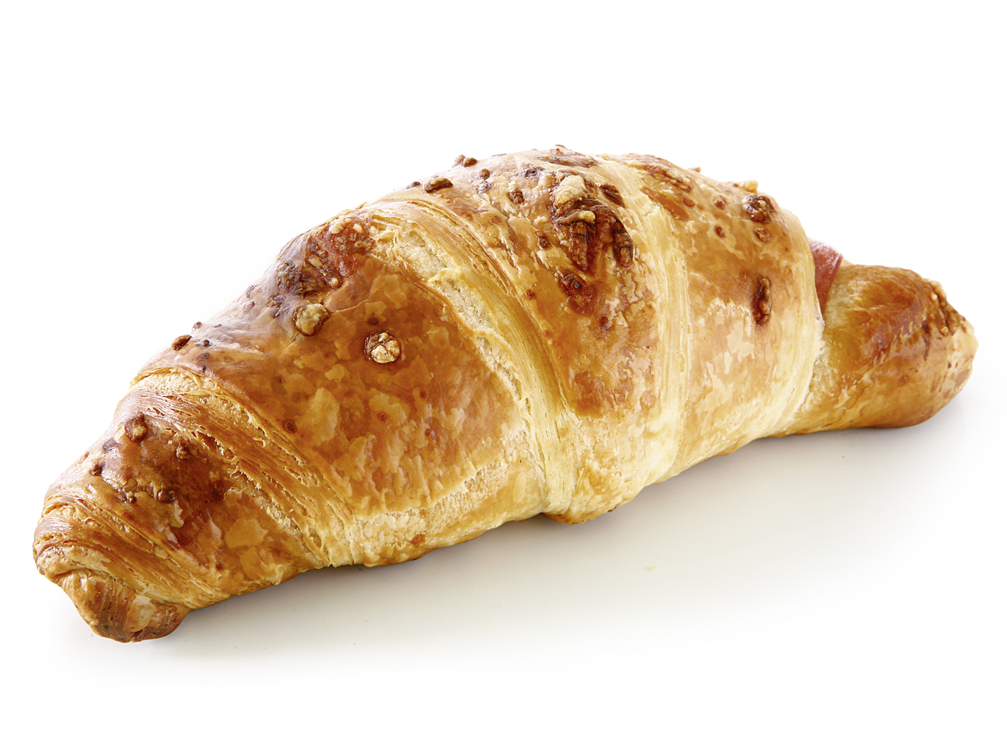 Ham & Cheese Croissant (whole slice) - Dough pastry/ butter croissant, filled with a whole ham slice and original Dutch Gouda cheese