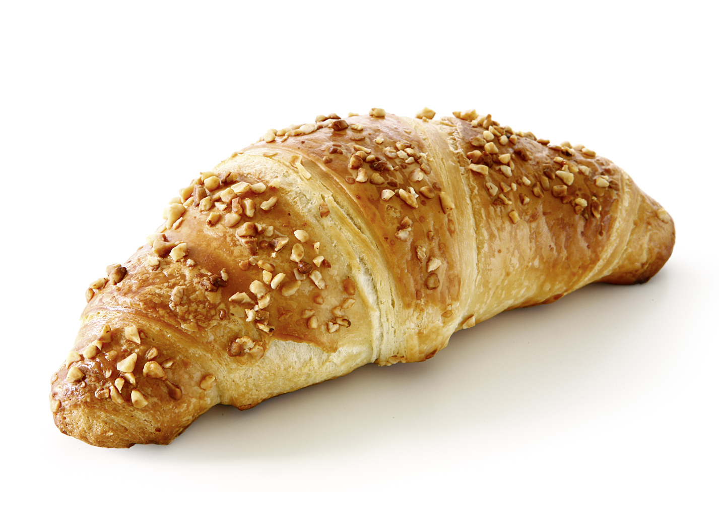 Butter Croissant Praliné (Nut-Nougat) - Dough pastry with 20% butter/ filled with 17% chocolatehazelnut cream and decorated with hazelnuts