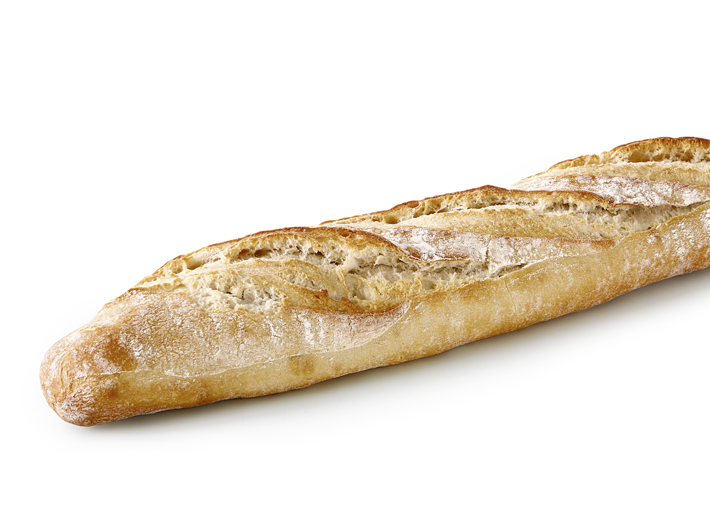 Stone Oven Baguette - Wheat bread with three diagonal cuts and pointed ends/ the surface has a rustic look and is slightly floured/ baked in the stone oven length: 46 cm