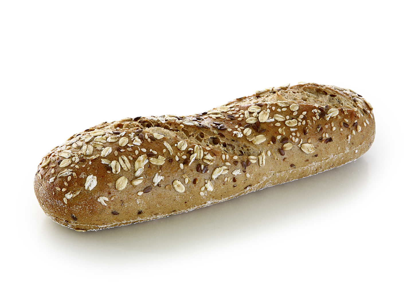 Baguette with Seeds - Longish baked multi grain roll with 5% oil seeds, rye flour and oat flakes/ length: approx. 21cm