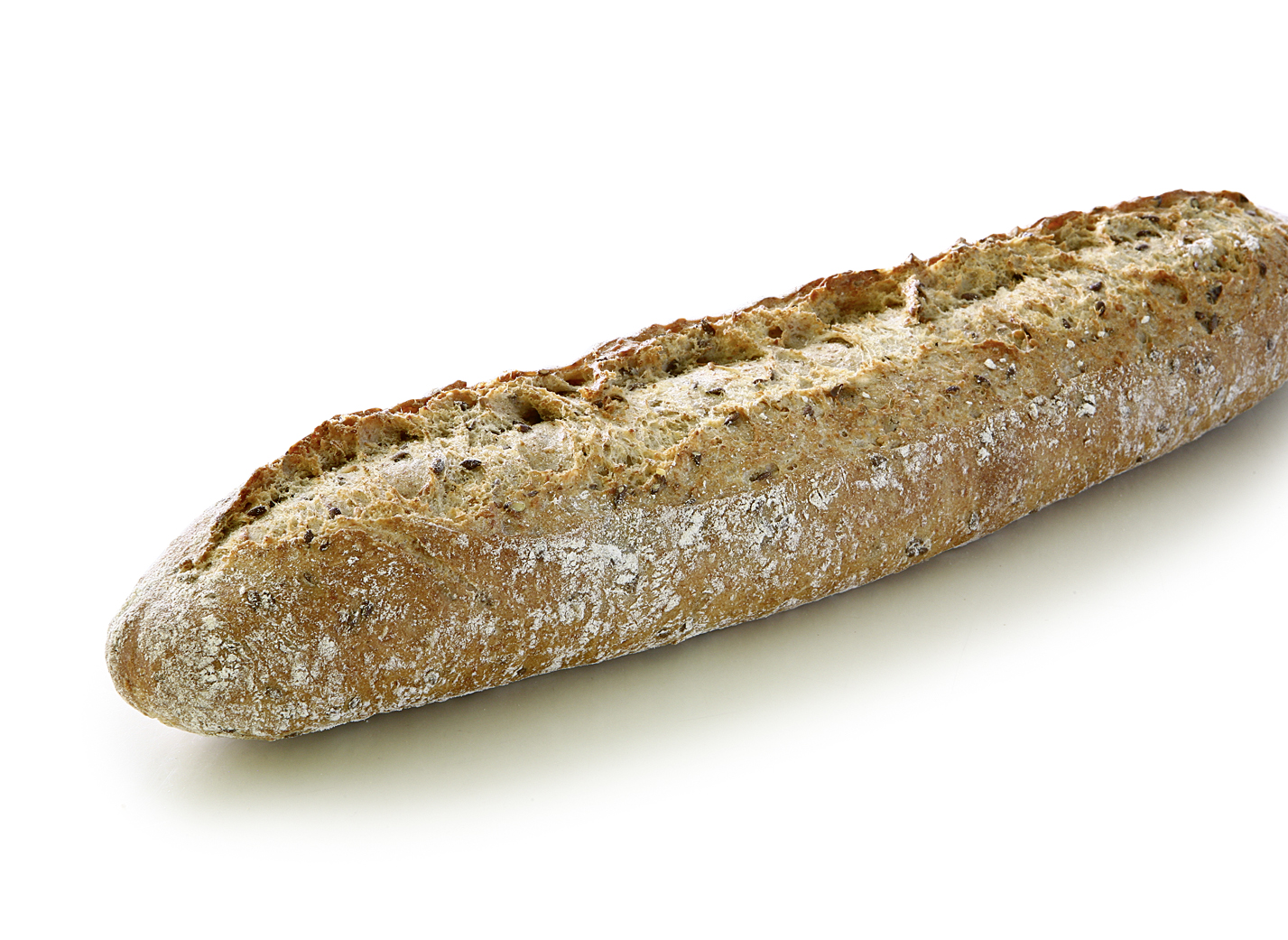 Baguette with Ancient Grains and Seeds - Wheat mixed bread with perennial rye, emmer flour, linseed, sesame, sea salt and honey/ length: approx. 38 cm