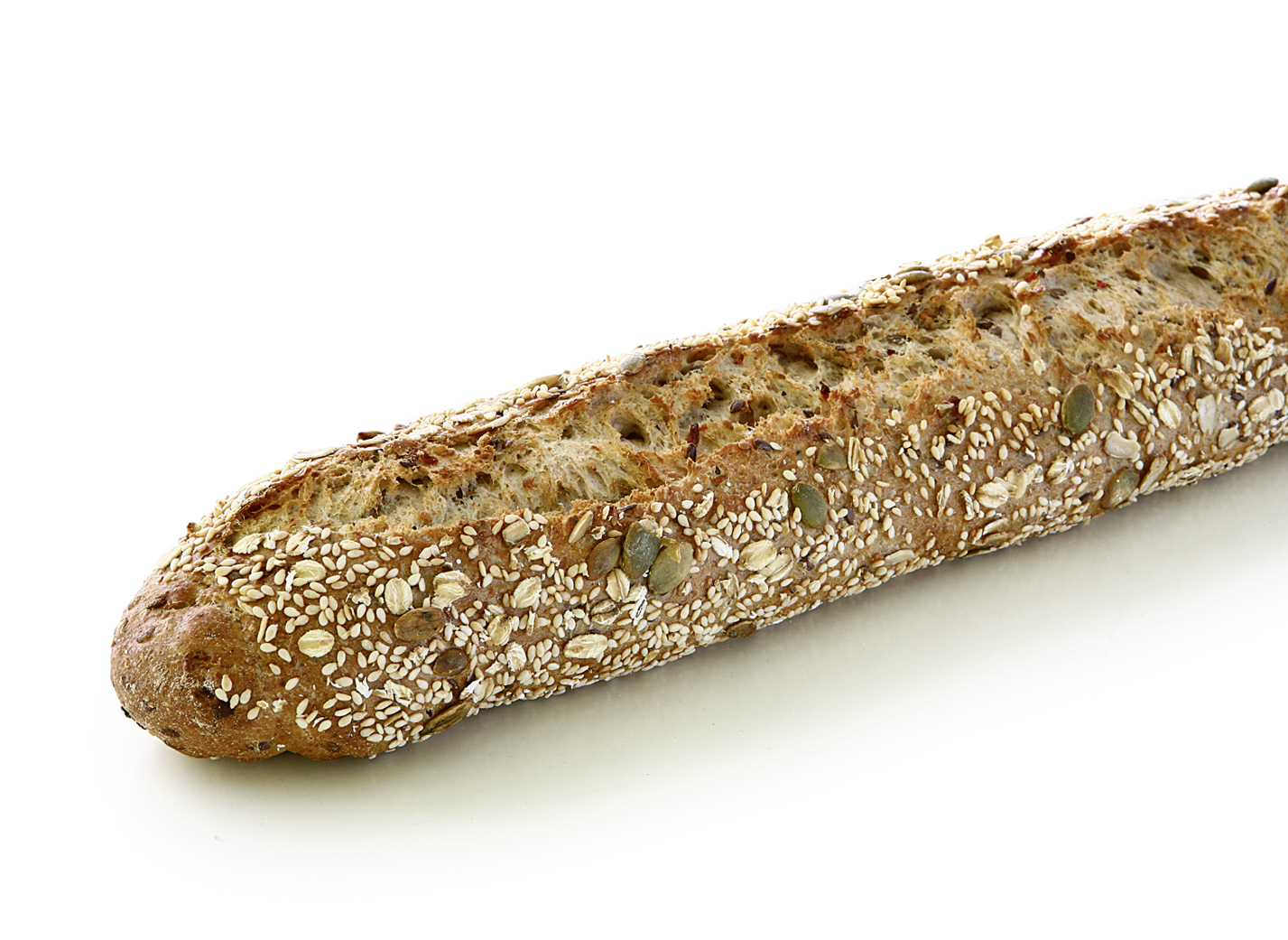 Baguette with Ancient Grains, Seeds and Carrots - Wheat baguette with perennial rye, emmer flour, linseed, sesame, carrots, pumpkin seeds, sea salt and honey/ length: approx. 38 cm