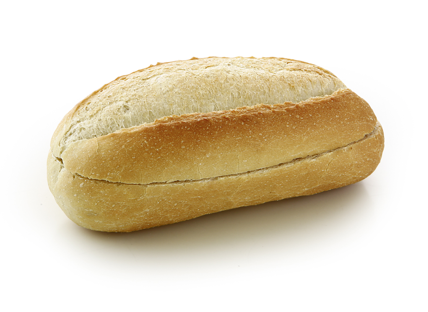 Baguette Roll with Serving Cut - The ready baked wheat roll has a 90° serving cut and is therefore suitable for filling.