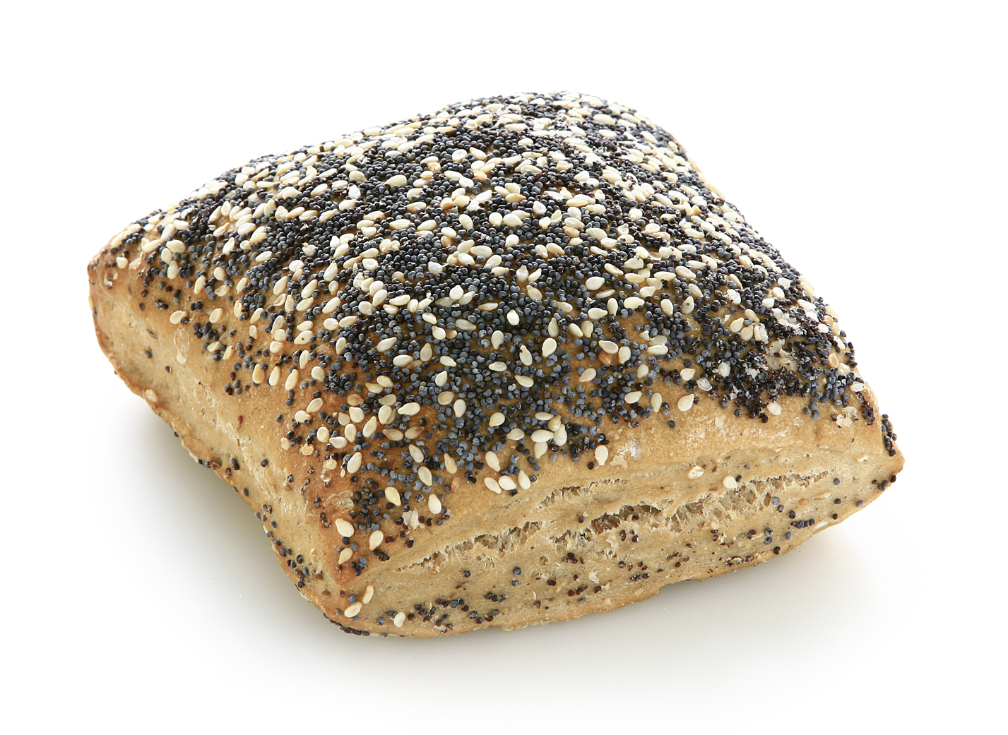 World-Champion-Roll - Multigrain roll with rye flour and a high part of grains upper side: sprinkled with sesame and poppy seeds bottom side: prinkled with sunflower seeds