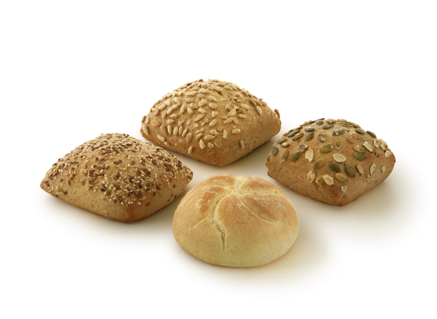 Roll mix 70/85g - XXL mix of the varieties: kaiser roll, pumpkin seed roll, multigrain roll and sunflower seed roll