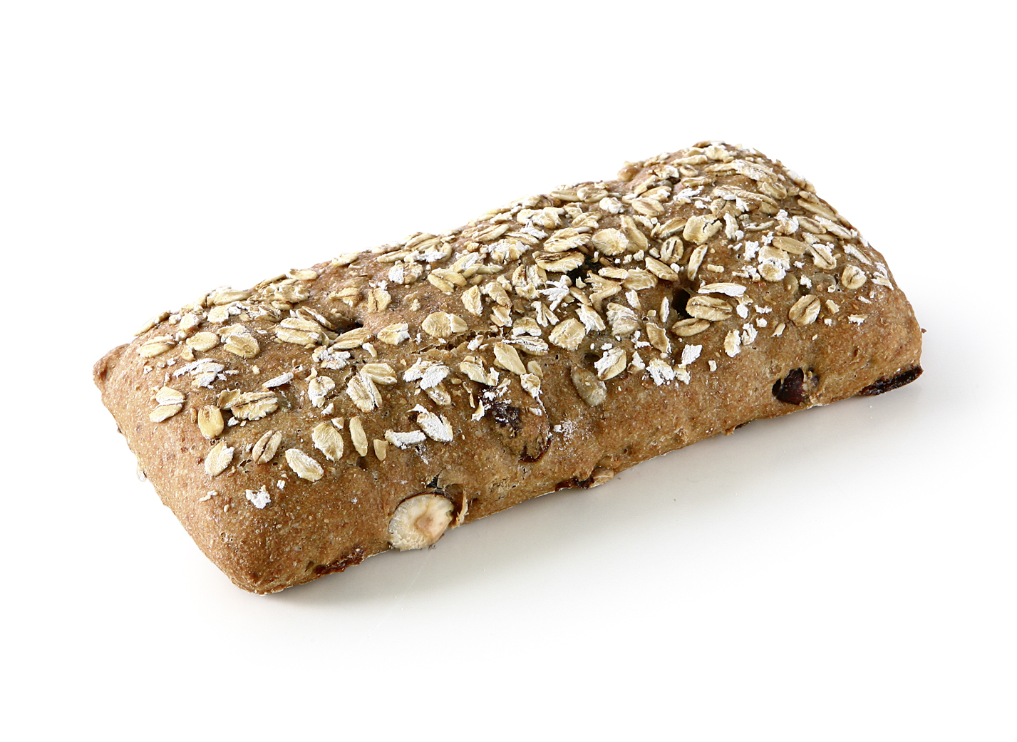 Cereal Bar - Longish baked wheat roll with 22.5% raisins, 8.5% seeds and 3% hazelnuts/ thaw only