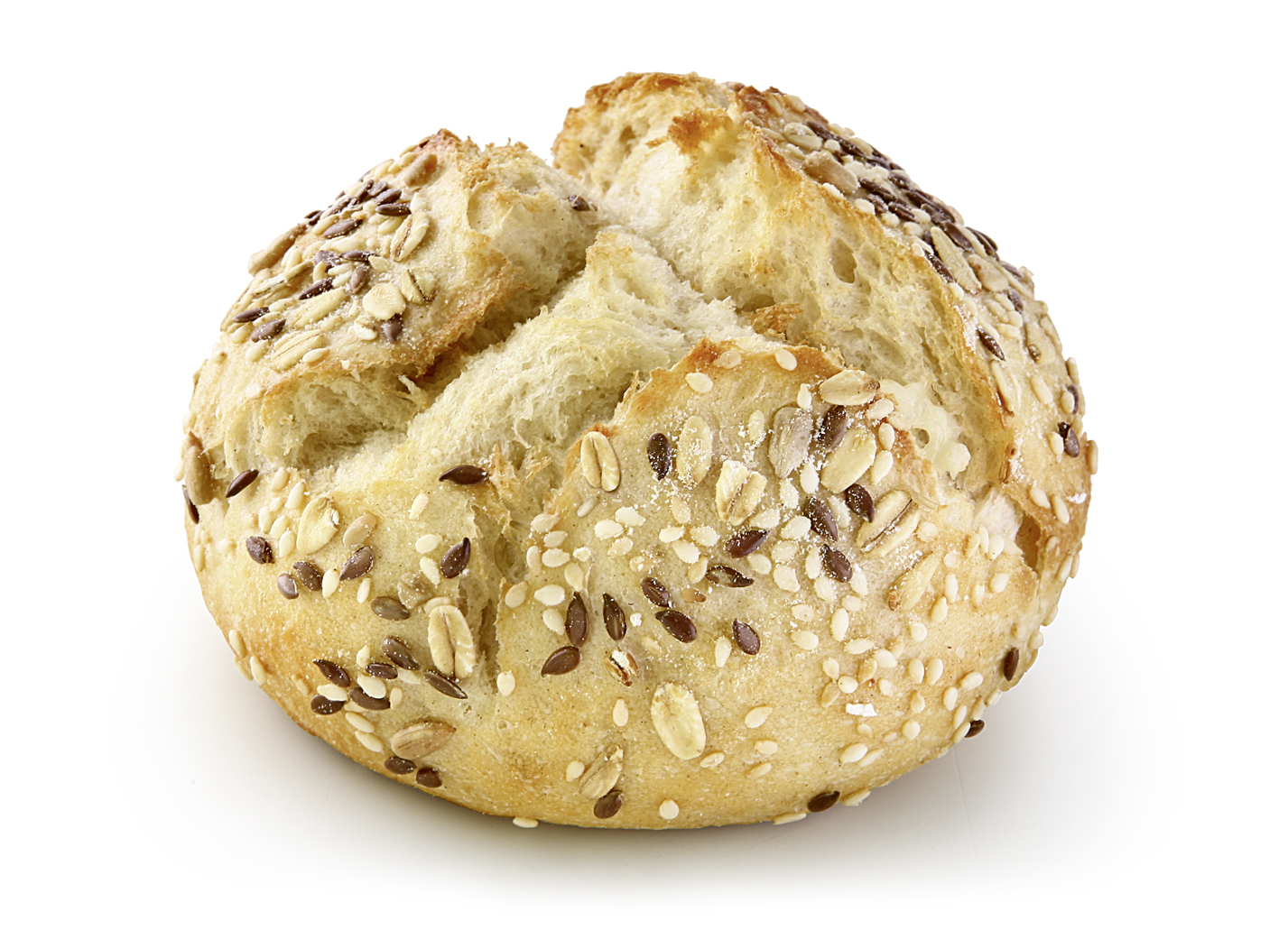 Potato Roll with Seeds - Wheat small bakery with 11% potato flakes and 32% seeds (sesame, linseeds, sunflower kernels).