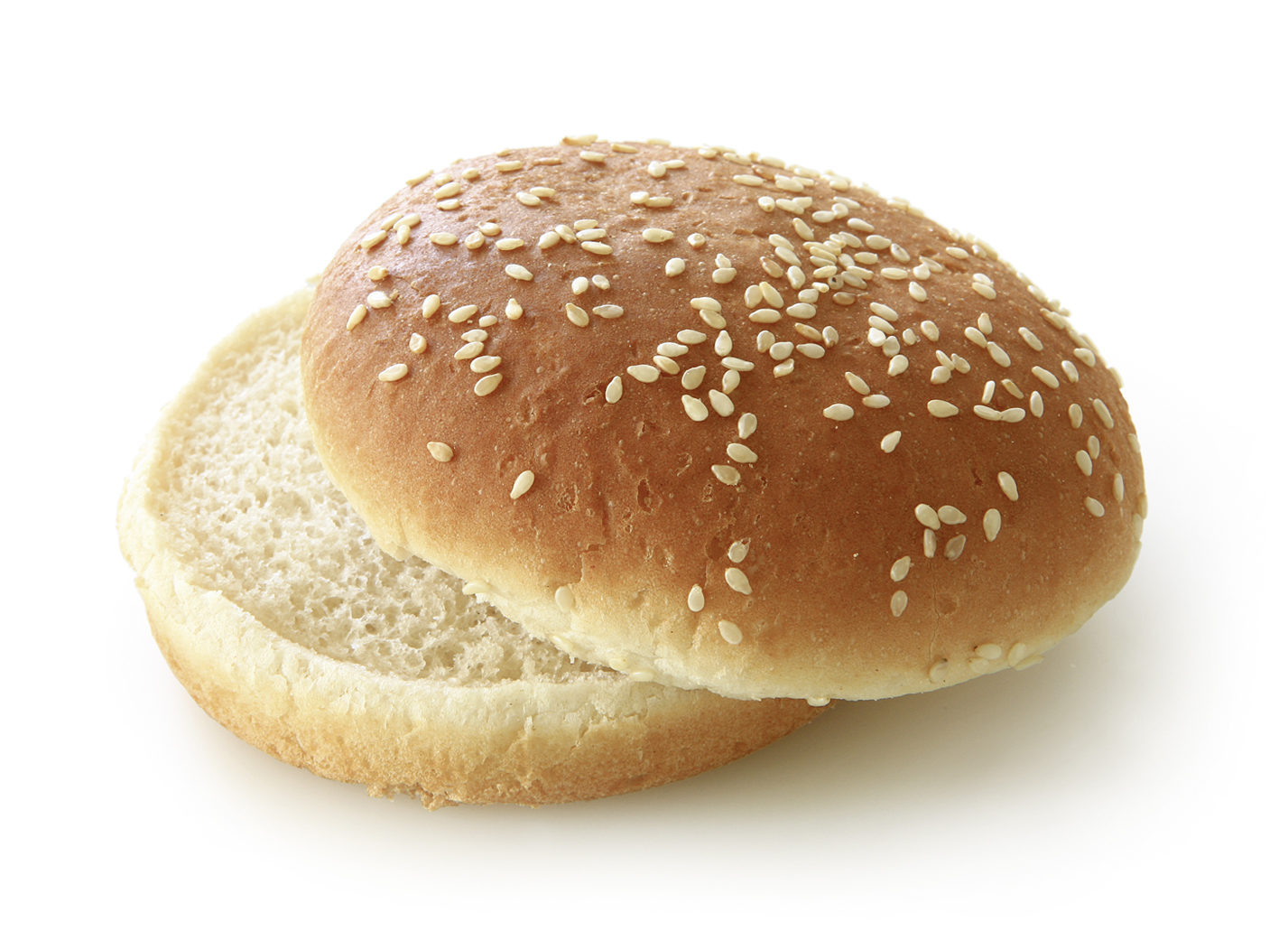 Hamburger Bun sesame seeds, sliced - Wheat roll/ traditional shape sprinkled with sesame seeds/ thaw only diameter: 10 cm/ 4 Inches