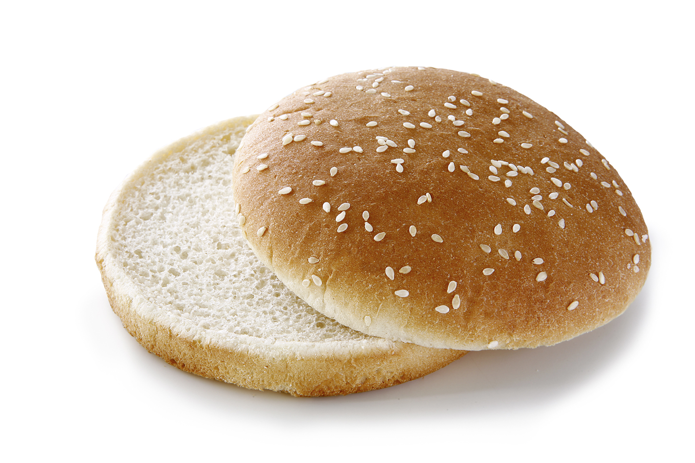 Hamburger Bun sesame seeds, sliced - Wheat roll/ traditional shape sprinkled with sesame seeds/ thaw only diameter: 12.5 cm/ 5 Inches