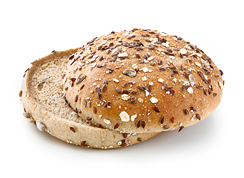 Hamburger Multi Grain Bun - Wheat roll with linseeds, sunflower kernels, oat flakes, rye wholegrain bruised grain and sourdough/ traditional shape/ thaw only