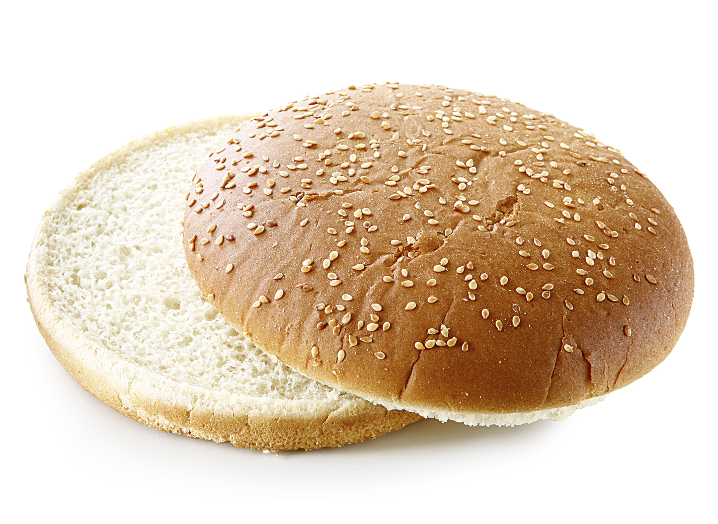 Hamburger Bun Sesame Seeds XL, sliced - Wheat roll in extra big size/ traditional shape/ sprinkled with sesame seeds/ thaw only diameter: 14.5 cm/ 6 Inches