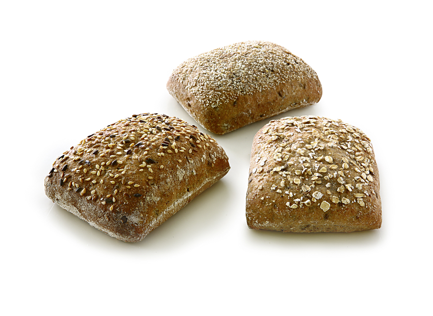 Wholegrain roll mix - Mix of the varieties: Whole Grain Four-Grain Roll, Whole-Grain Roll, Oat Whole-Grain Roll