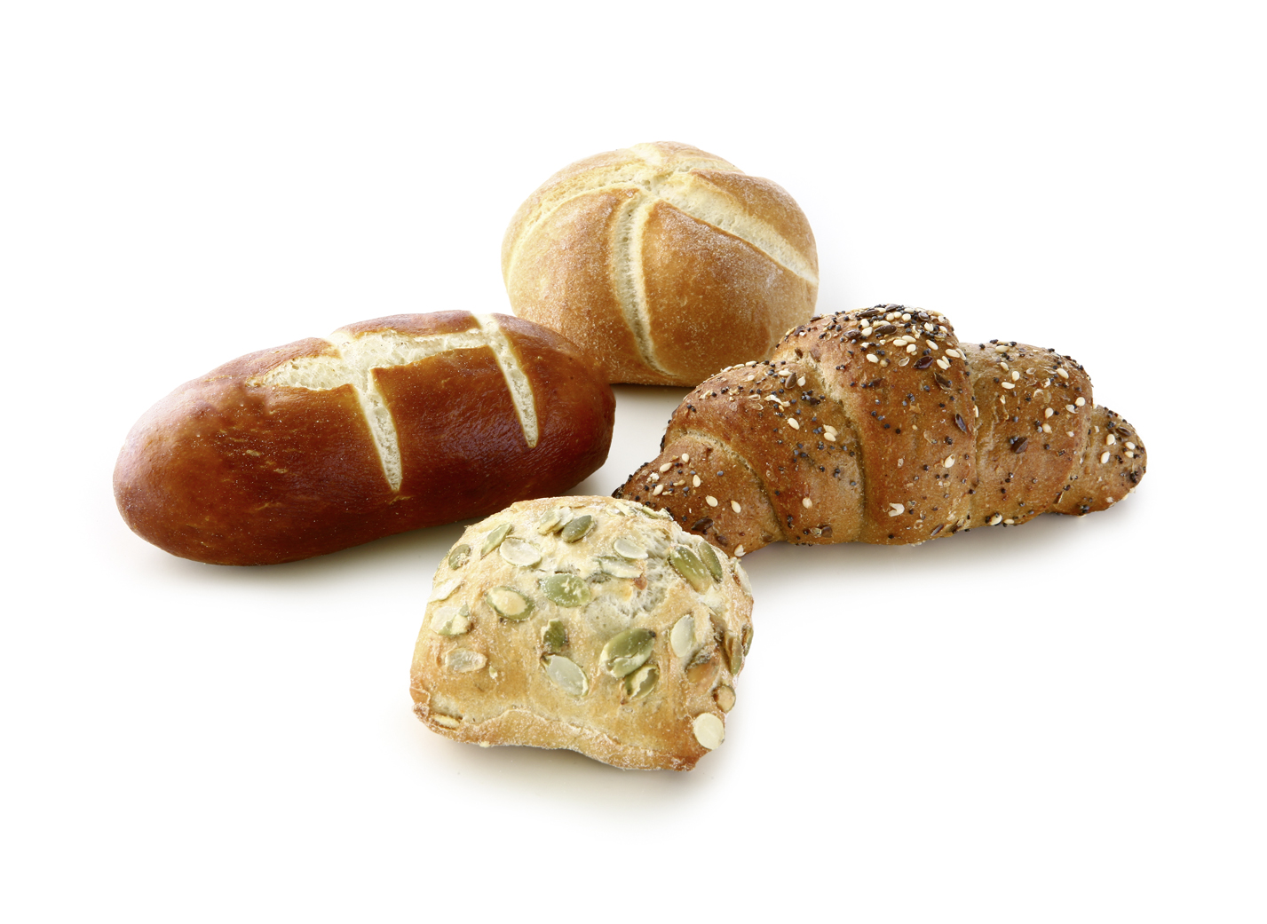 Special Jour-Pastry - Mini Mix of the varieties: Grain-Quark Stick, Pumpkin Seed Roll, Kaiser Roll and Lye Stick