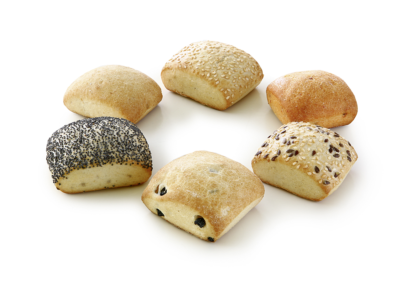 Mini-Roll Assortment - Mini-mix of the varieties: dried tomatoes, roasted onios, black olive, poppy, sesame and sesame-linseeds.
