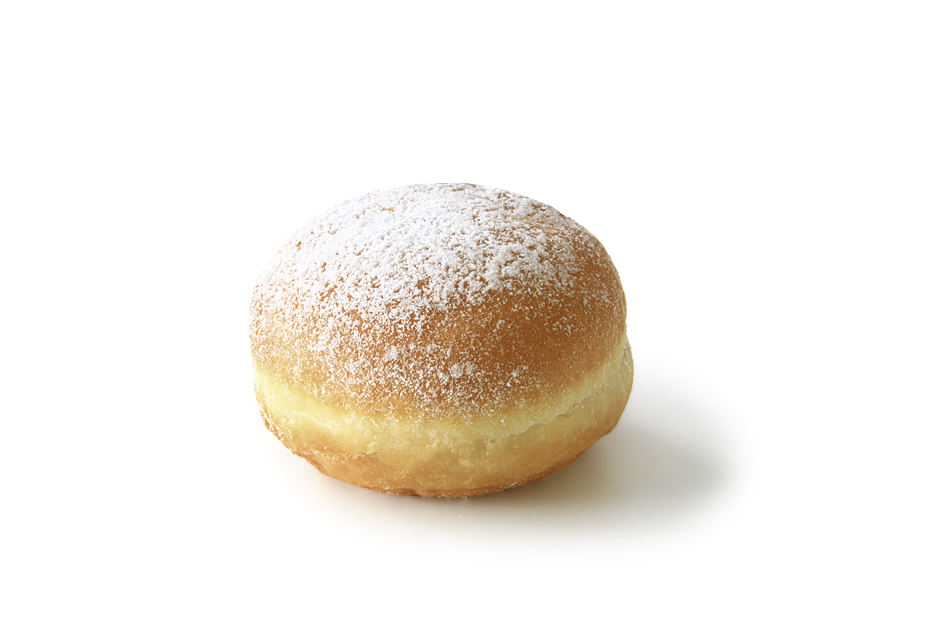 Jelly Doughnut, multifruit, powdered - Pastry filled with multi fruit/ sprinkled with powdered sugar/ thaw only/ diameter: 8 cm