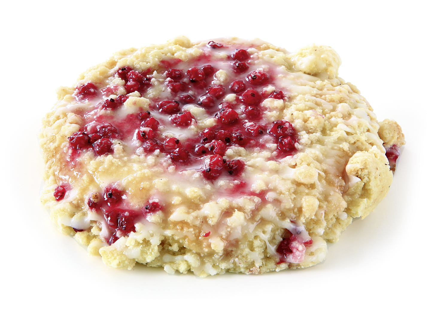 Currant Crumble pastry - Yeast pastry with 11% red currants, crumbles and decorated with fudge/ thaw only/ diameter: 14 cm