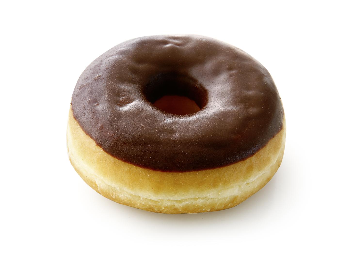Donut half coated with chocolate - Fried yeast dough half covered with chocolate coating/ thaw only/ diameter: 9 cm