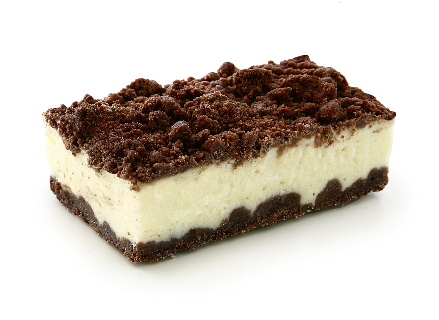 Russian Cheese Cake - 29% Curd cheese mass with streusel base with cacao and 13% streusel with cacao. measure: 9.5 x 5.5cm