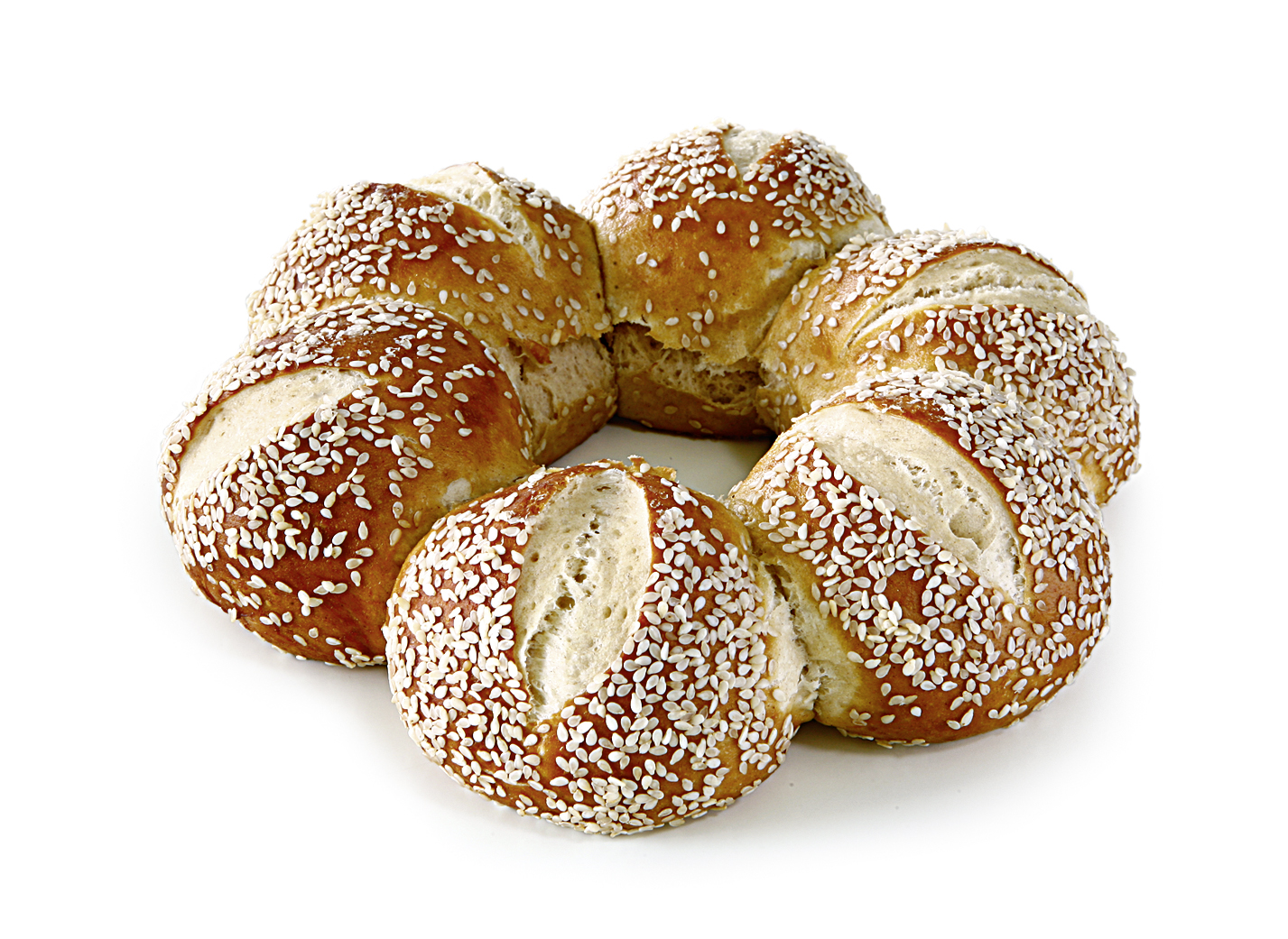 Lye Crown Sesame - 6 rolls sprinkled with sesame baked against each other.