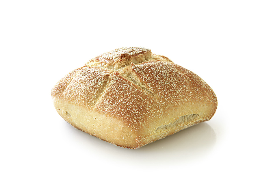Golden Crusty - Quadratic wheat roll, stamped grid-like and sprinkled with durum wheat semolina