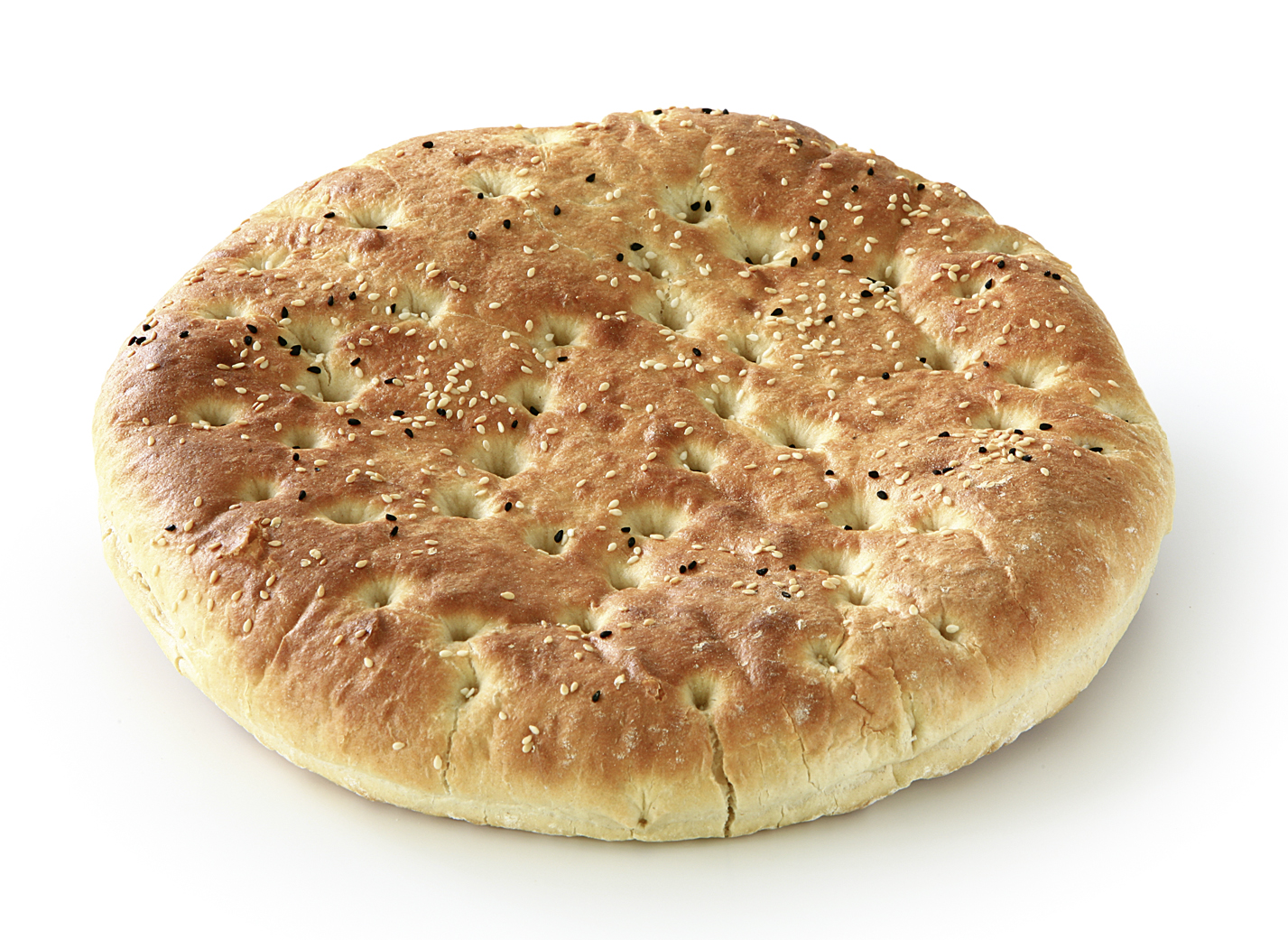 Pita Bread - Wheat bread shaped round and flat and sprinkled with seeds Diameter: 28cm