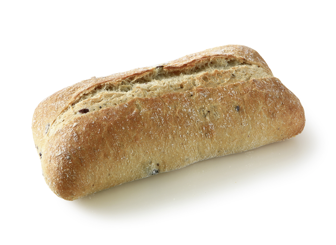 Ciabatta with Olives - Wheat bread with 8.5% black olives measure: approx. 25 x 10 cm