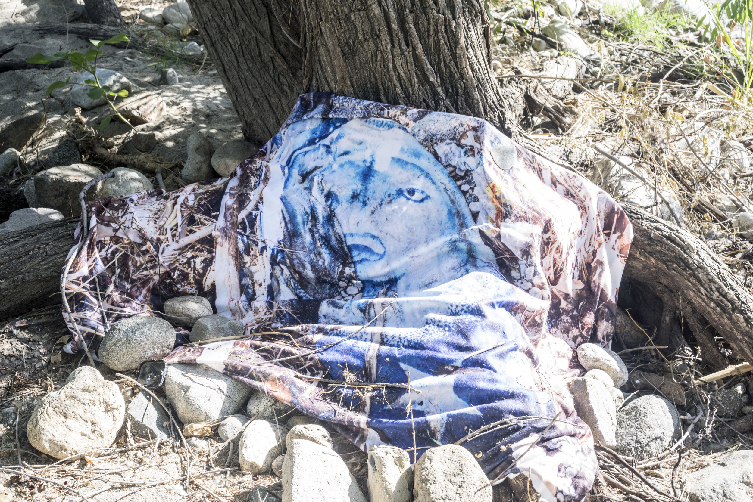Install at the river. Photo printed onto blanket.