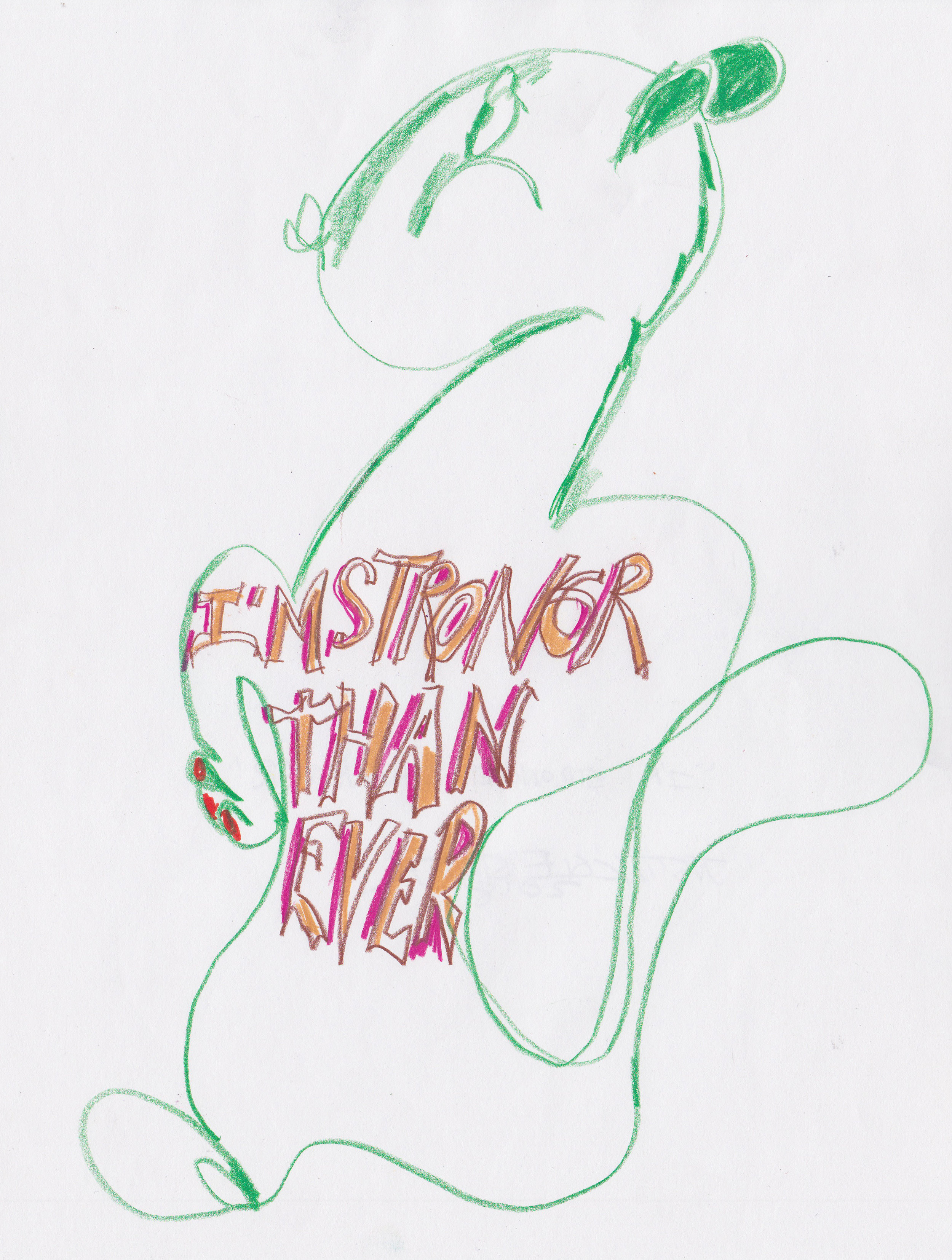 """- I'm Strongr Than Ever10.5"""" x 14""""color pencil on paper"""