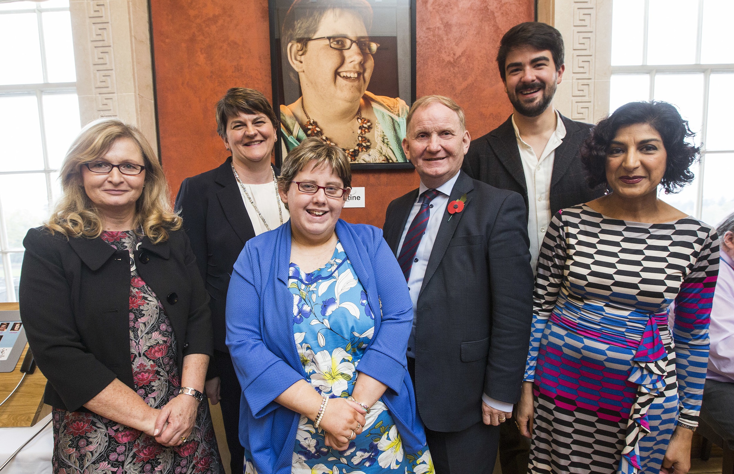 Pictured at the launch of   'My Journey, My Voice' multimedia portraits and stories exhibition to raise awareness of communication disability at Parliament Buildings, Stormont are (L-R) Alison McCullough, Royal College Speech and Language Therapist's; Acting First Minister Arlene Foster MLA; Christine Birney; Lord Morrow MLA, Laurence Gibson, portrait photographer and Kamini Gadhok, CEO of the Royal College of Speech and Language Therapists.