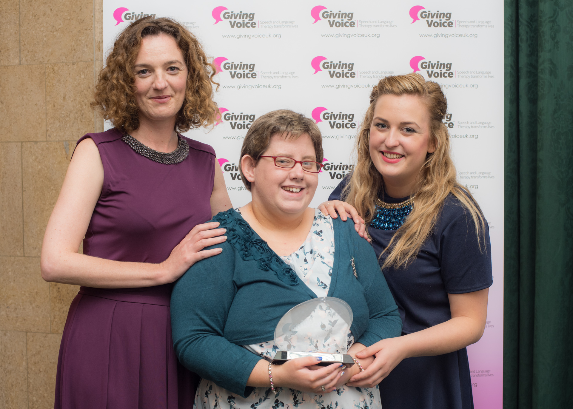 Pictured centre - Christine Birney at the Giving Voice awards ceremony in London with her guests, Sharon McEvoy (L) and Kay Johnston (R).