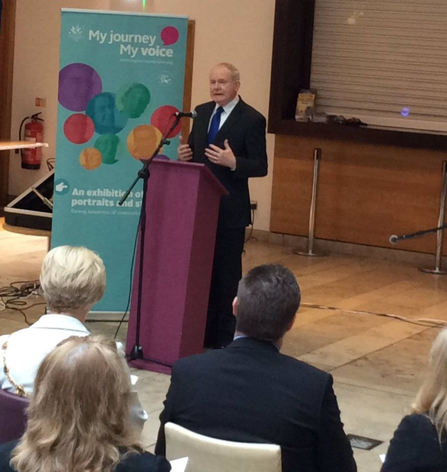 Deputy First Minister recounts his own experiences with family and friends who have experienced communication difficulties in his opening speech at the Millennium Forum.
