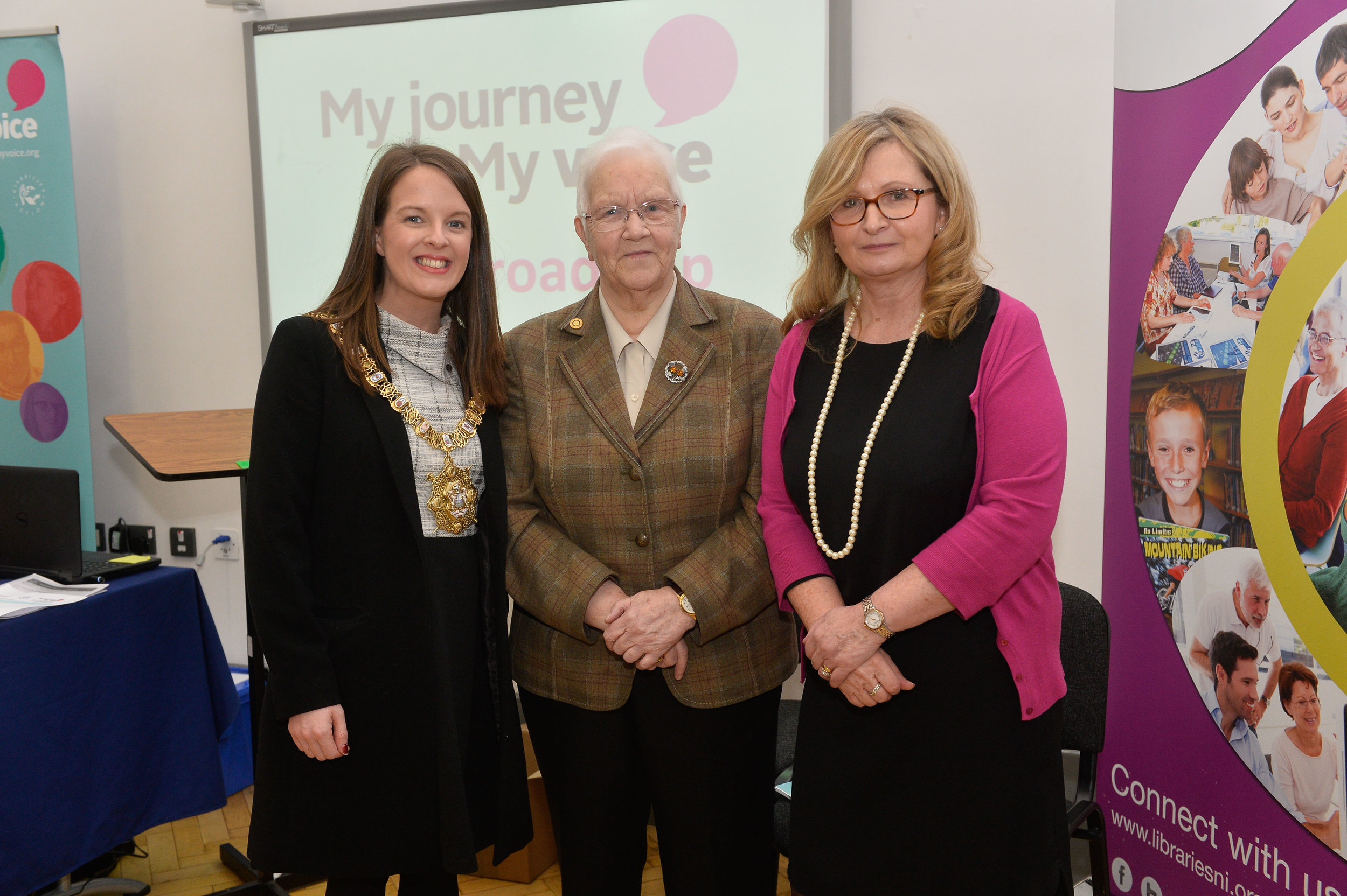 Lord Mayor of Belfast,  Councillor Nuala McAllister, and Baroness May Blood pictured with Alison McCullough, RCSLT.