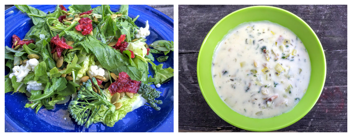 Fresh-from-the-garden salad and clam chowder!