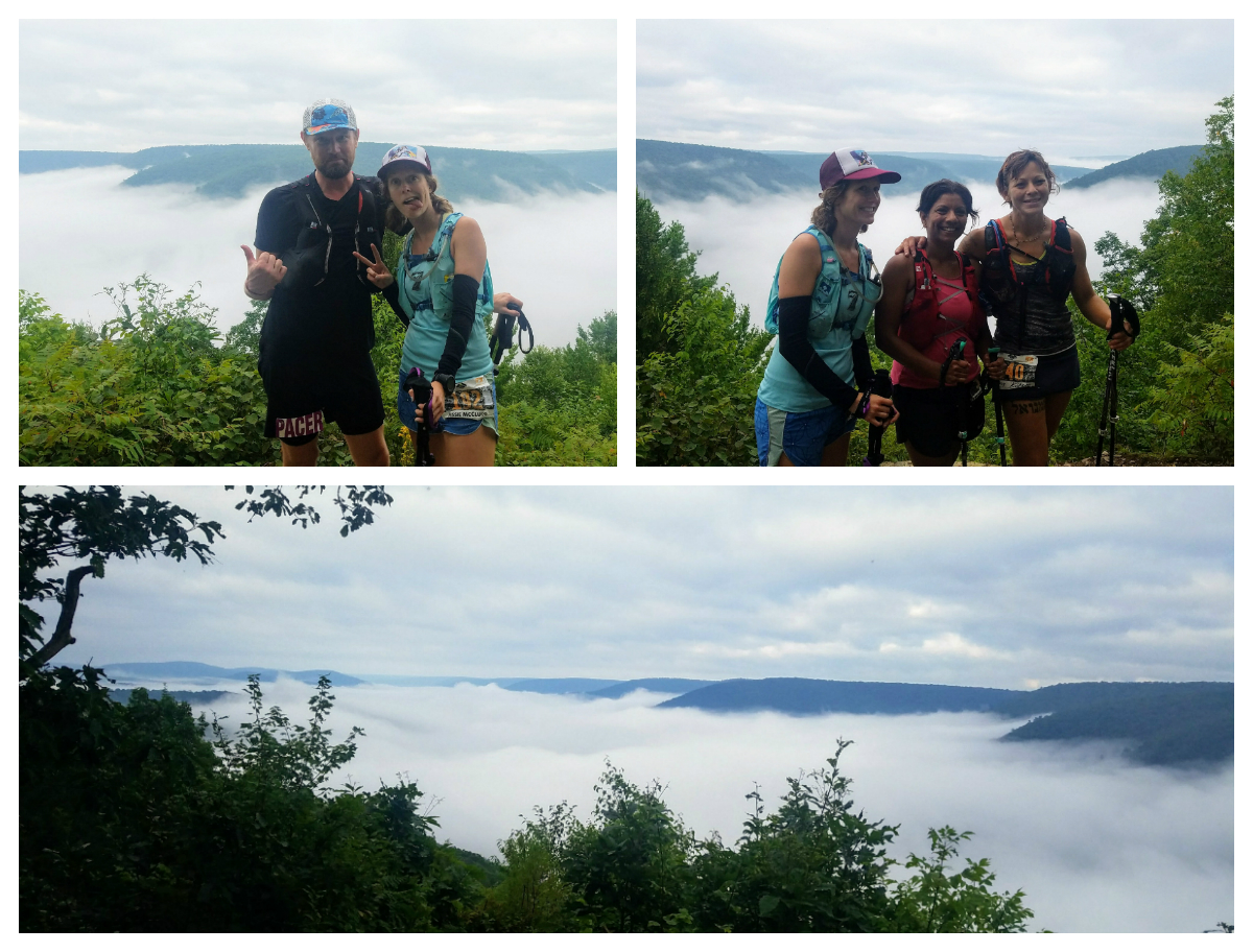 Goofing off with some fellow trail runner ladies at the most scenic view on the course.