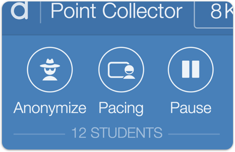 Image of the teacher dashboard showing the pause button deactivated.