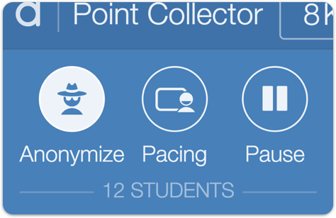 Image of the teacher dashboard showing the anonymize button activated.