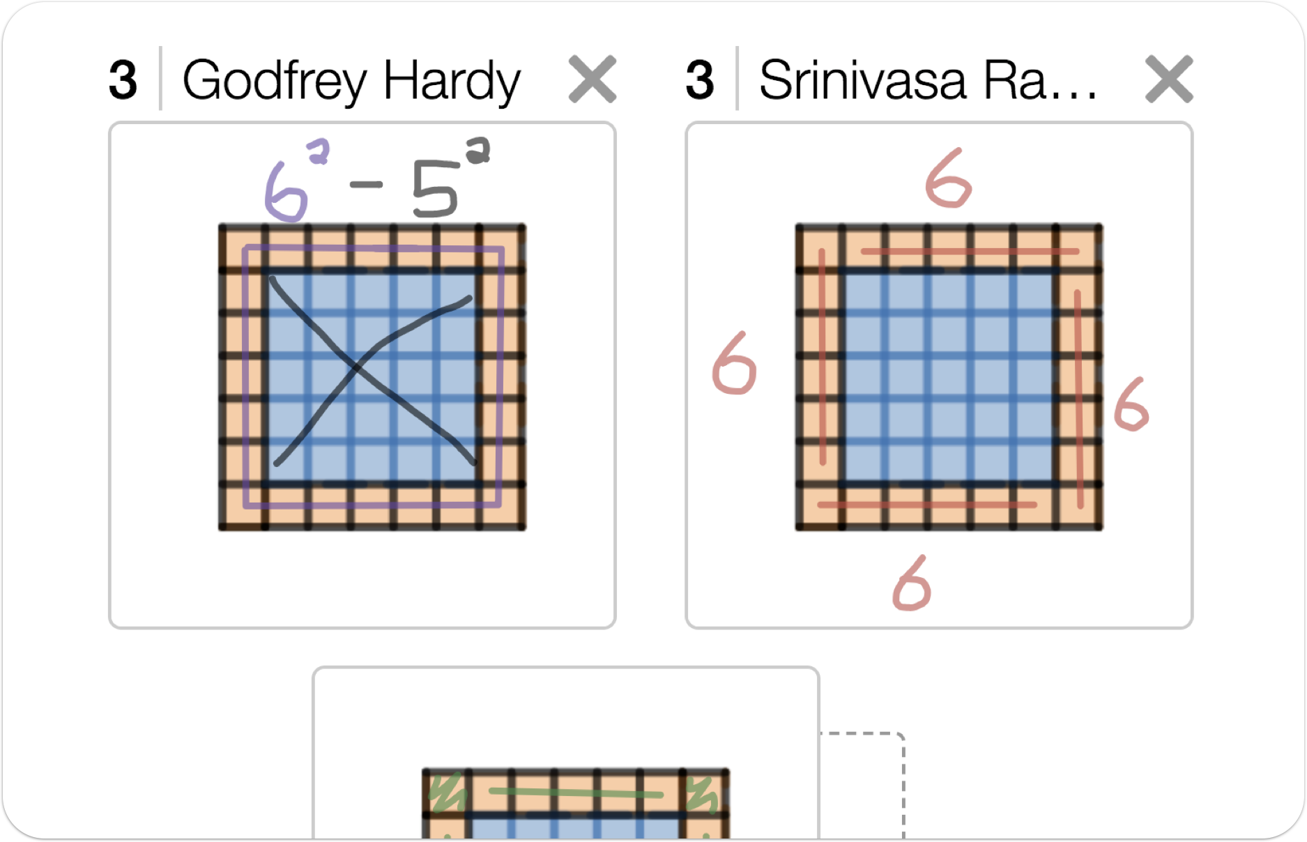 An image showing three Screen 3 sketch snapshots organized into a collection.