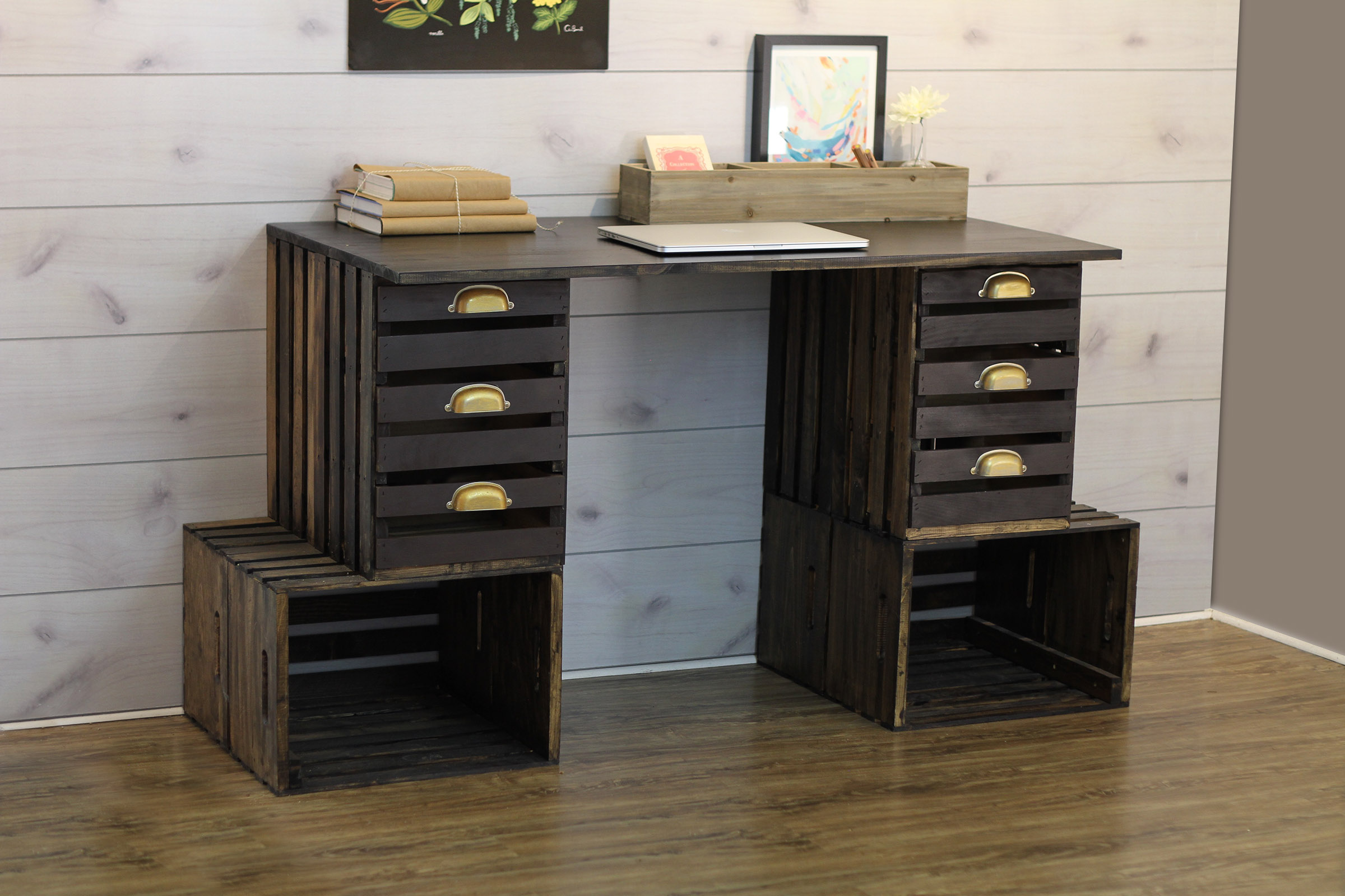 Picture:  Crates & Pallet Crate Desk Project