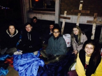 PPE students sleeping out for Barnabus - 21/10/2016