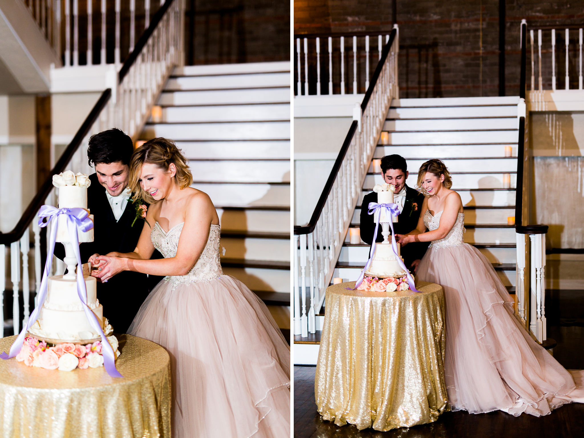 The Grand Canadian Theater OKC Purcell Wedding Venue Ashley Porton Photography cake cutting brown egg bakery .jpg