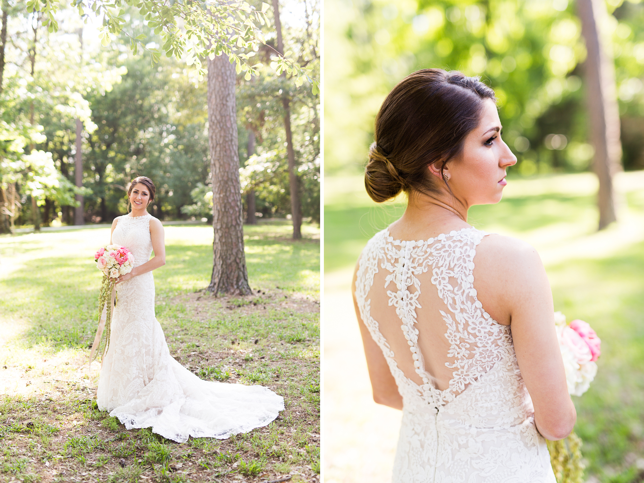 oklahoma wedding photographer pasture at willows ranch broken bow bridal portrait peonies lace detail back gown
