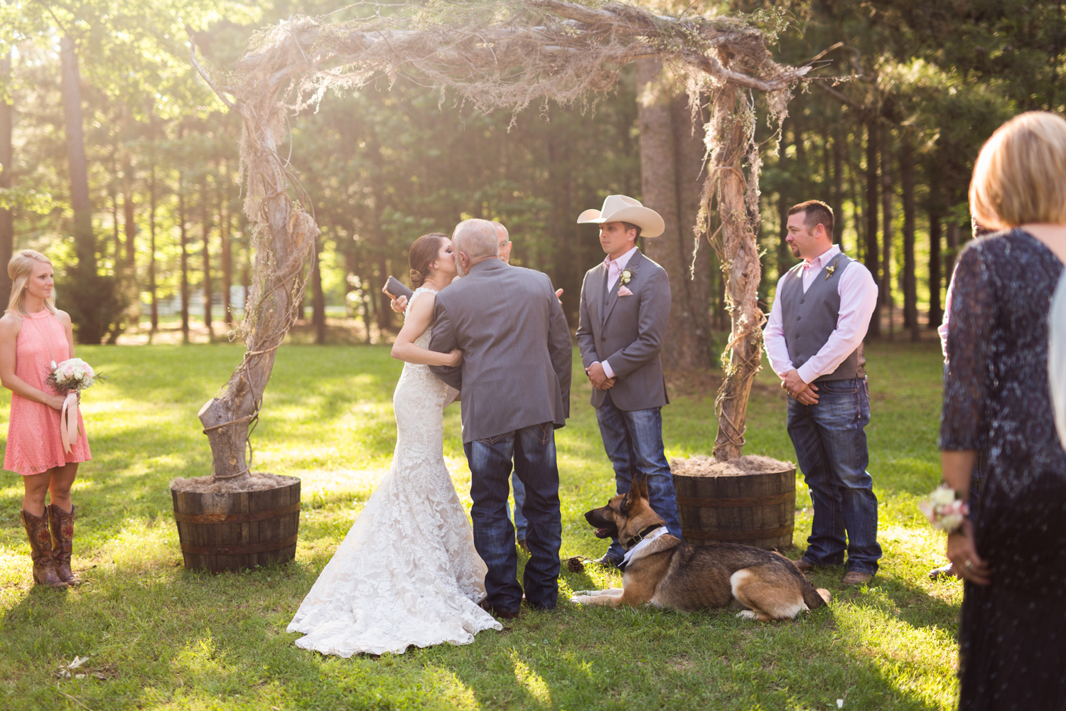 oklahoma wedding photographer pasture at willows ranch broken bow father giving away bride